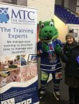 Coventry Blaze Mascot Scorch   first aid competition with MTC at the Coventry Blaze match